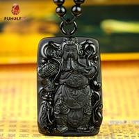 Belwide Wujin natural Obsidian PENDANT MENS open Fortuna Wu Guan Gong Guan Gong Guan Necklace decoration