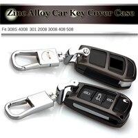1pcs 3D Metal Emblem Car Key Case Chains Key Bag For Peugeot 301 2008 3008 408