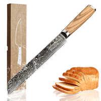 Sunnecko ขนมปัง 8 นิ้วมีด 73 ชั้นดามัสกัสเหล็ก Sharp ใบมีดไม้เดิม Handle ญี่ปุ่น VG-10 เครื่องมือทำอาหาร