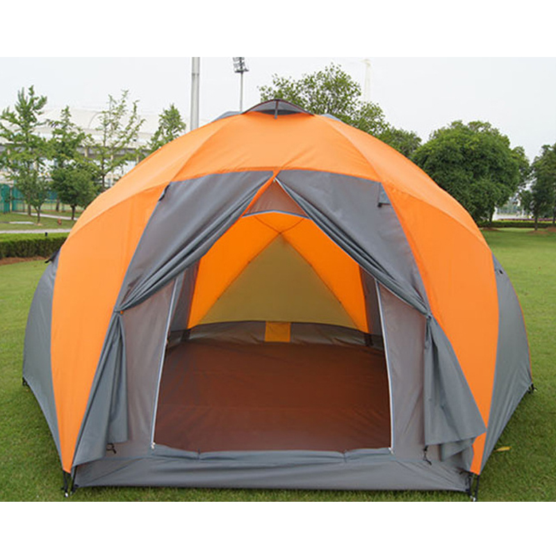 Large camping tent 5 - 8 person garden tent Double layer Three doors outdoor tents for family camping travel 330*380*195cm octagonal outdoor camping tent large space family tent 5 8 persons waterproof awning shelter beach party tent double door tents