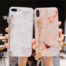glitter foil marble chain strap tpu case for iphone X XR XS MAX 7 8 6 6S plus cover fashion bling sequins soft silicon shel
