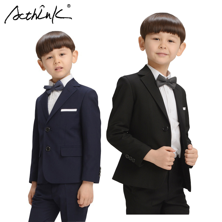 ActhInK Teenage Boys Blazer Suit 2017 New England Style Children Shirt+Pants+Jacket+Bowtie Set Boys Autumn Wedding Costume, C260