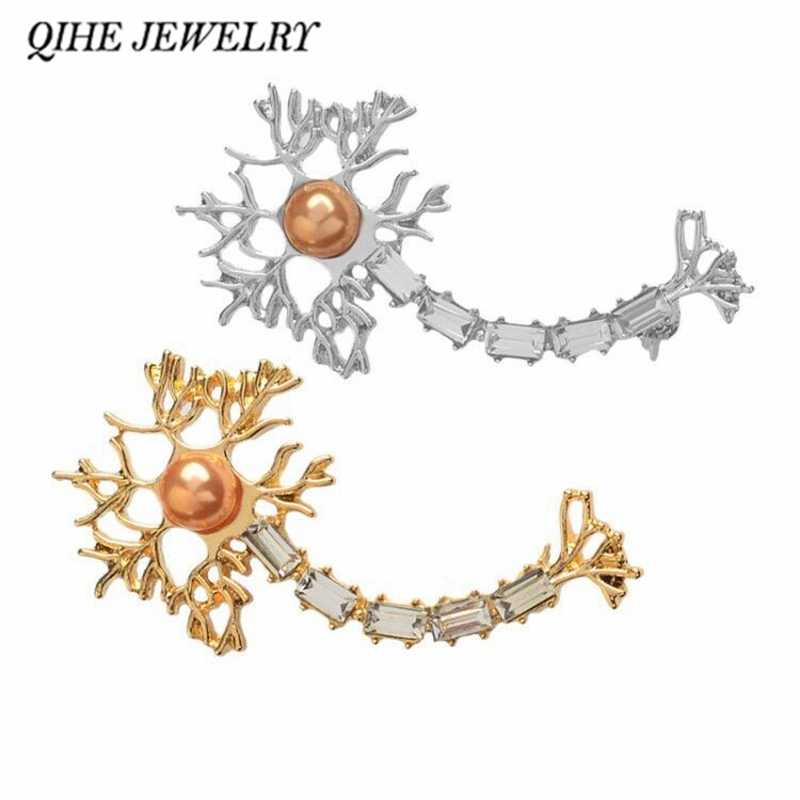 QIHE JEWELRY Neuron Pin with pearl zircon Brooches Badges Medical Jewelry Neurology Chemistry Gifts for Hospitals Doctors Nurse