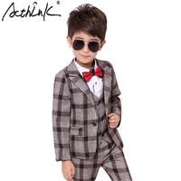 ActhInK New Design 3PCS Boys Plaid Blazer Suits Brand Design Big Boys Waistcoat Wedding Costume Prince Boys Winter Suits, TC124