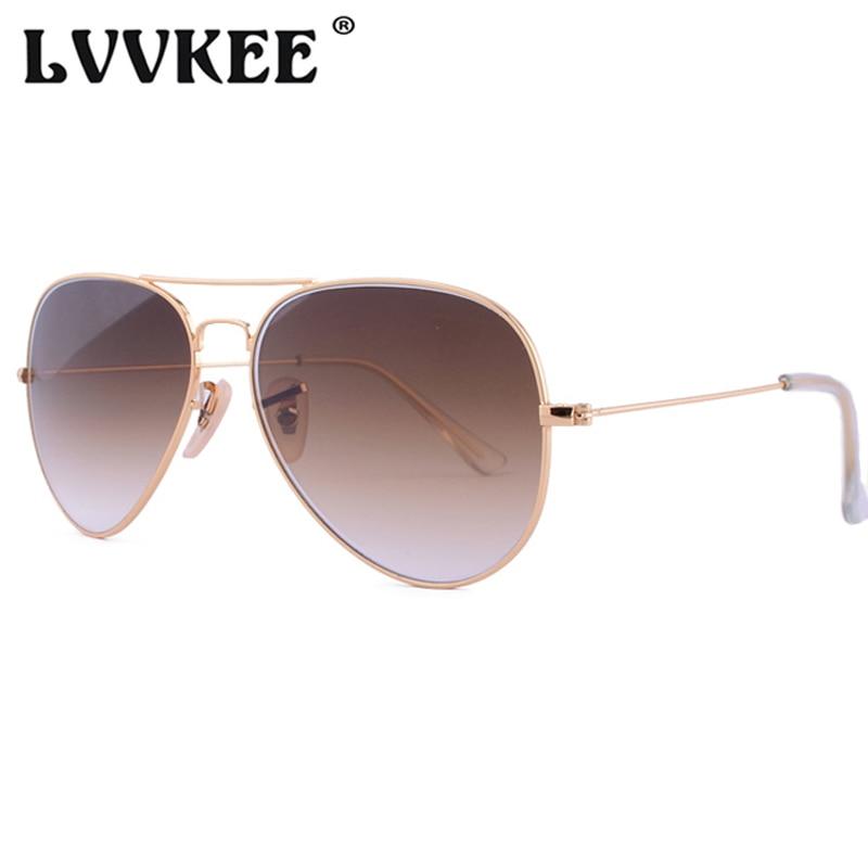 Piloto clássico lentes de vidro óculos de sol masculino feminino 58mm lente g15 aviação óculos de sol para masculino uv400 raios proteção