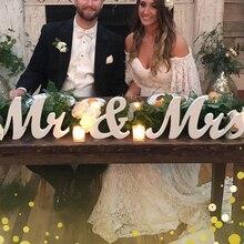 خشبية الزفاف الديكور رسائل الأبجدية كلمة السيد والسيدة قائمة بذاتها الزفاف ديكور حفلات Vintage الجدول سنتربي ديكور