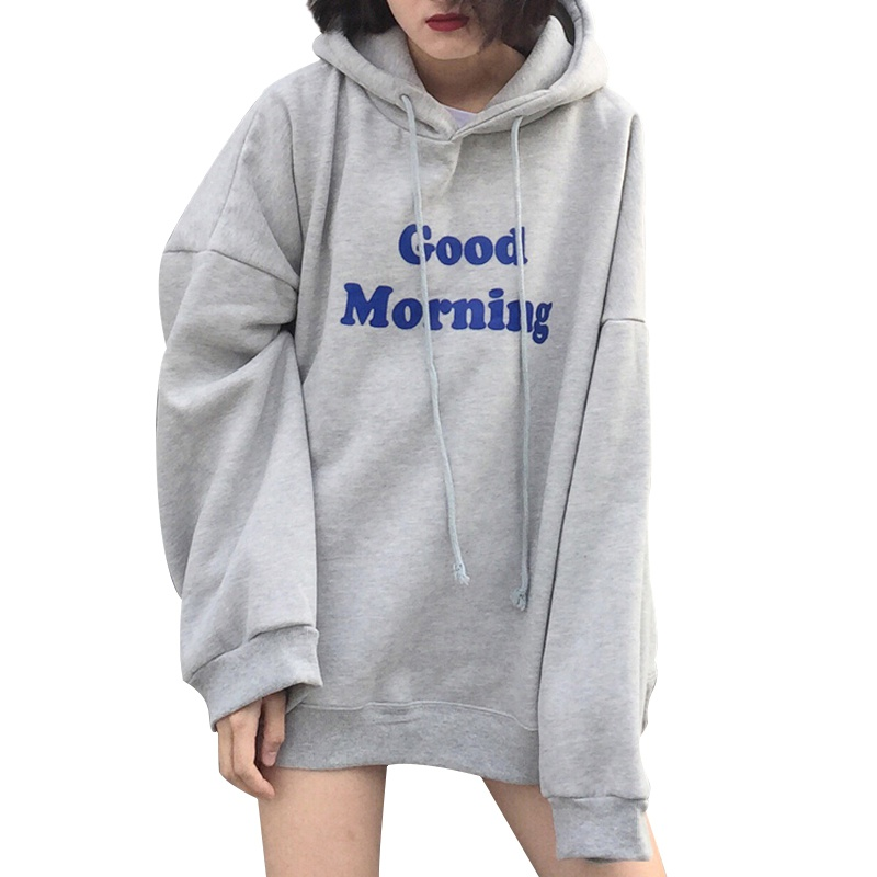 Girls Long Sleeve Good Morning Letter Printing Hooded Sweatshirts Women Autumn Loose Pullovers Hoodies With Cashmere