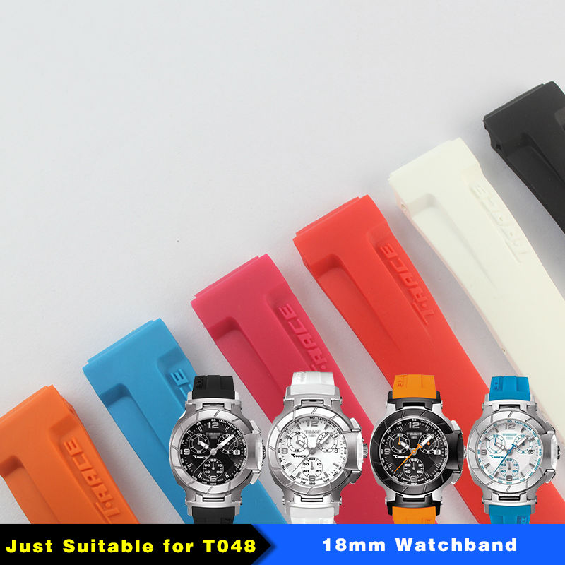 Female T048217A rubber strap 18 mm (Buckle16mm) T-RRCE Expert Black Silicone rubber Strap T048217 Watch band for T048 woman ...