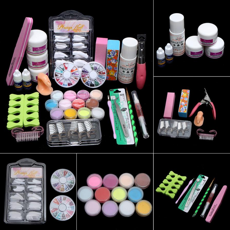 Nail Tips Glue 3D Mold Set Acryic Powder Nail Art Decorations Kit Brush Cuticle Revitalizer Oil Pen Tools Mar12