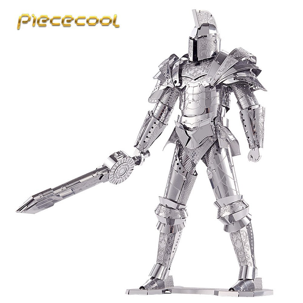 Piececool 3D Metal Puzzle of Black Knight 3D Laser Cut Model 3D Jigsaws from 3d Laser Cut Metal Sheets for Kids DIY Toys Gifts scallop laser cut dress