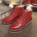 Genuine leather woman US size 8 designer vintage flat shoes round toe handmade brown red platform shoes oxford shoes for women