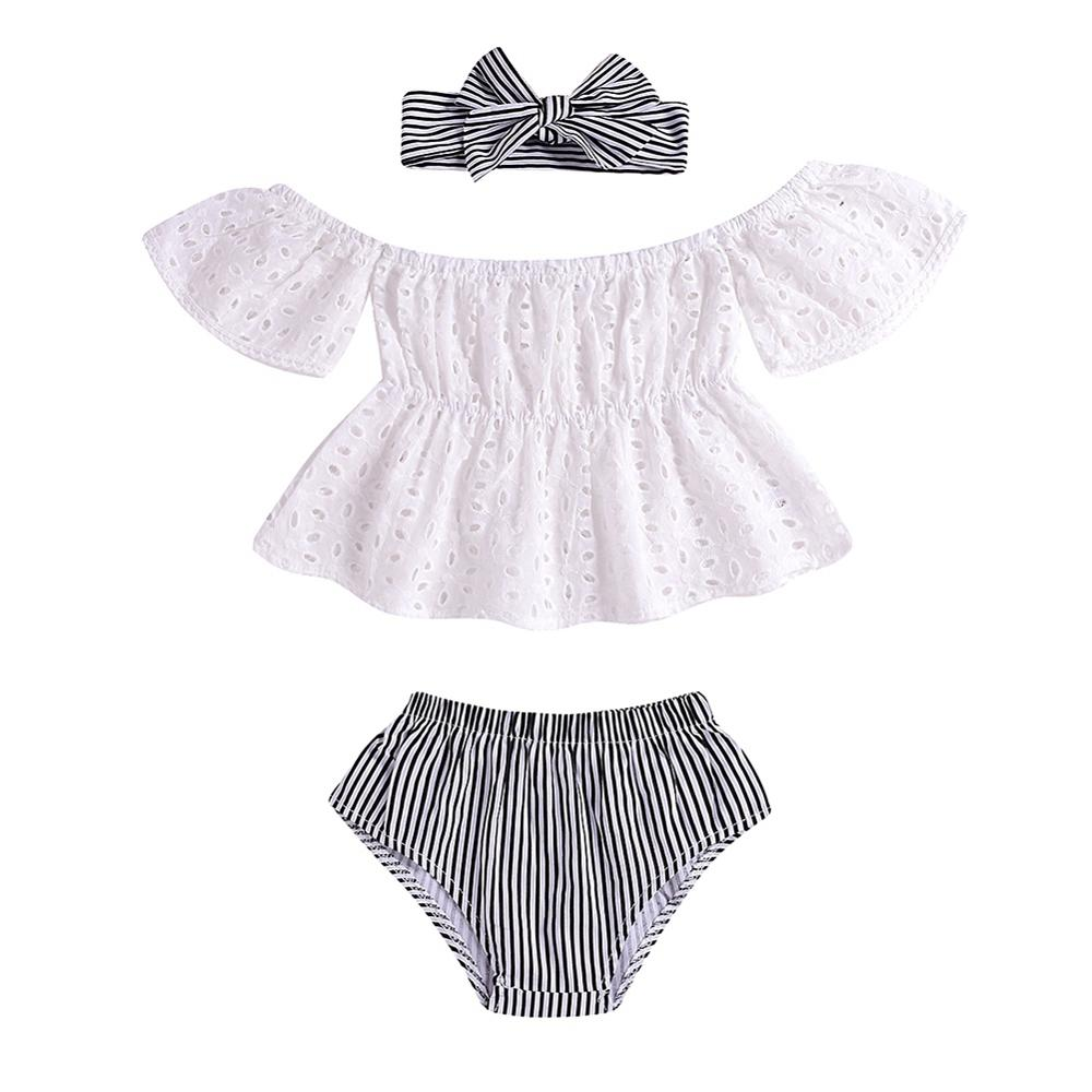 Baby Girl Outfits Set Off-shoulder Hollow Design Top T-shirt+Striped PP Shorts+Headband 3 Pcs Infant Clothes 0-24M(China)