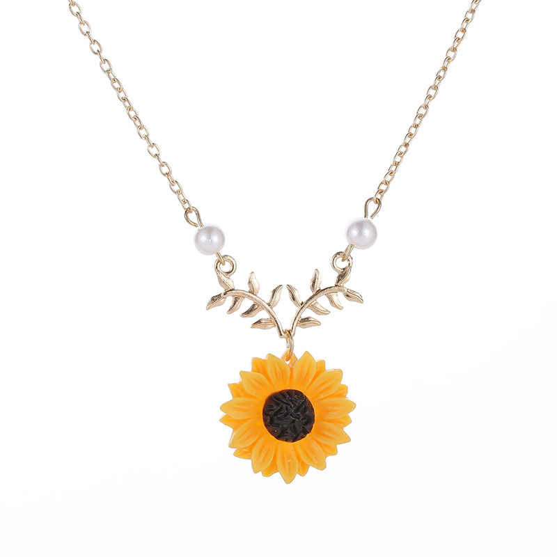 Fashion Sunflower Leaves Pendant Necklace for Elegant Women Gold Silver Color Chain Girls Imitation Pearls Charm Jewelry Gifts