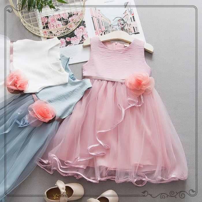 """Dziecko dziewczyny letnia sukienka bawełna biały różowy niebieski stałe pas z kwiatowy bez rękawów, dekolt w kształcie litery """"o"""", dzieci ubrania dla dzieci sukienka na wesele"""