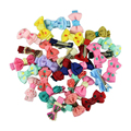 5 pairs/pack Fashion Girls Kids Candy Color Dot Flower Print Ribbon Bow Hairpin Hair Clips Kids Hair Accessories