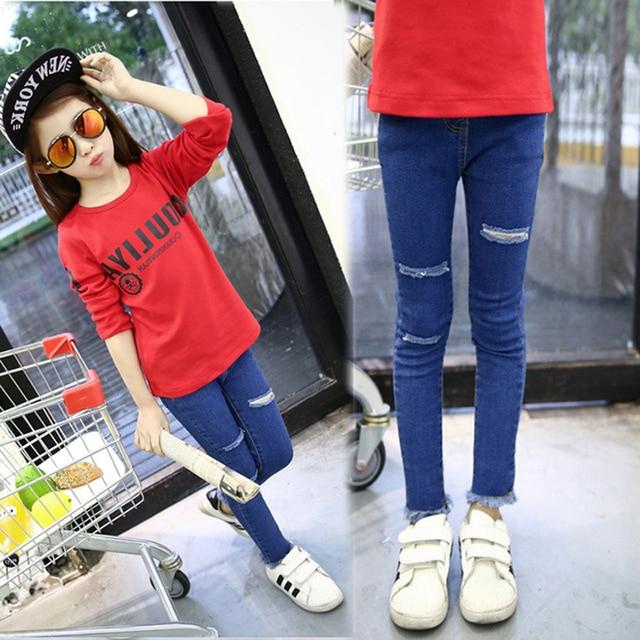Высококачественный девушка джинсы детская одежда 2017 весной отверстие девушки джинсы Тонкий дети брюки плюс размер горячая продажа