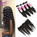 New Arrive Burmese Virgin Hair Deep Wave 3 Bundles Human Hair Weave With Closure Burmese Virgin Hair Curly With Frontal