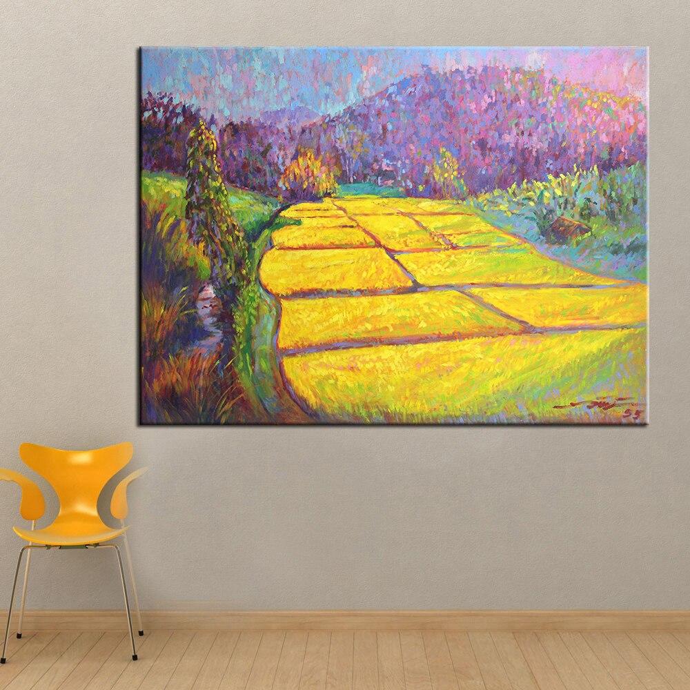 QK ART Oil Painting Golden of Impressionist Landscape Wall Art ...