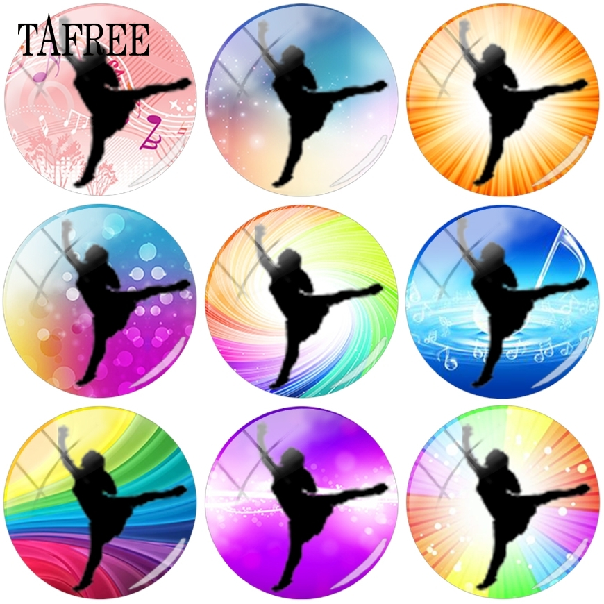TAFREE Hot Selling Dancers Silhouette Glass Cabochon Cover Cameo Pendant Settings Jewelry Findings Components