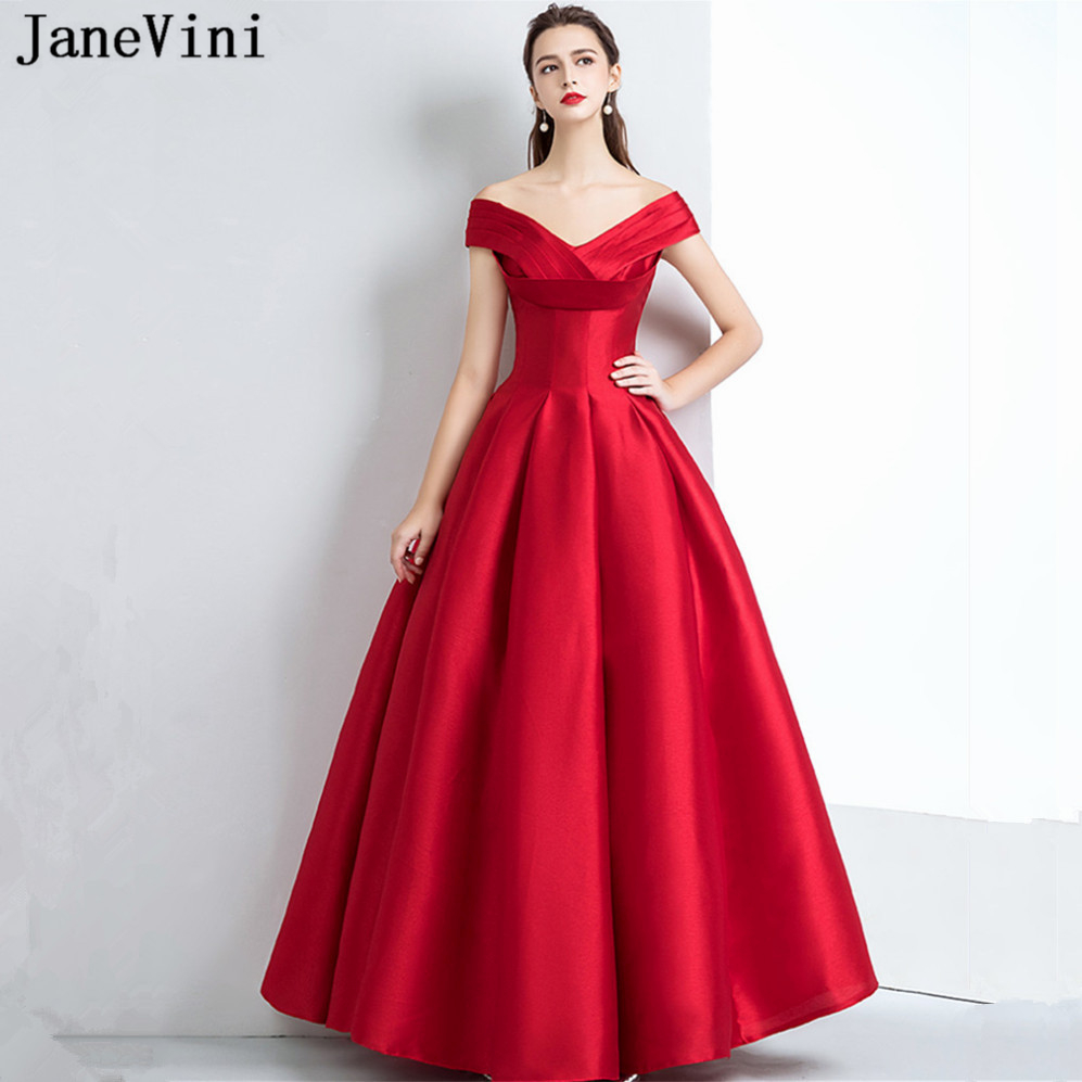 9a68cccb9fb JaneVini Simple Red Satin Long Bridesmaid Dress for Wedding Party Off the Shoulder  Sleeveless A Line Women Elegant Prom Dresses