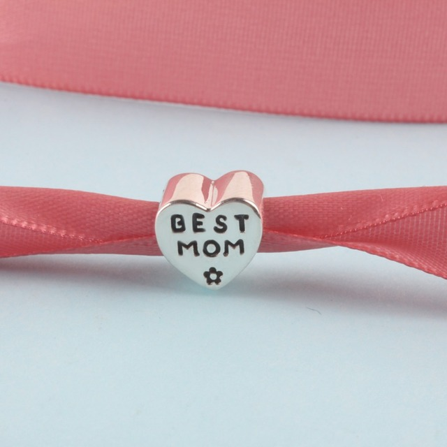 ZMZY Solid Original 925 Sterling Silver Charms Love Mom Heart Beads fit Pandora Bracelet for Women Gift 4 Style