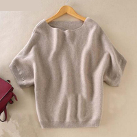 Seasons Slash Collar Cashmere Sweater New Women Loose Big Yards Batwing Shirt Was Thin Short Sleeved