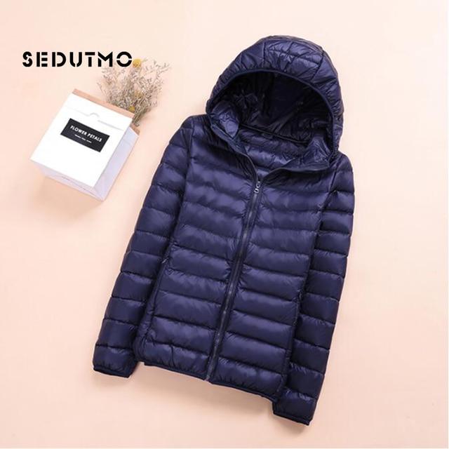 SEDUTMO Spring Womens Down Jackets Ultra Light Winter Duck Down Coat Short Hoodie Puffer Jacket Parkas ED659 3