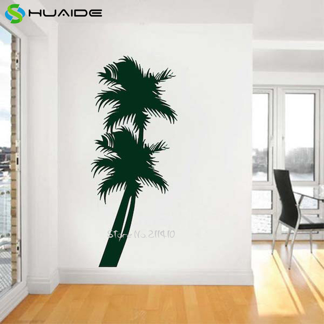 Beach Palm Trees Wall Stickers Home Decor Living Room Large Black White  Green Tree Wall Tattoo