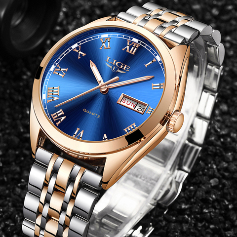 LIGE Watches Men Waterproof Stainless Steel Luxury Analogue Wrist Watches Week Display Date Sports Quartz Watch Men Montre Homme Lahore