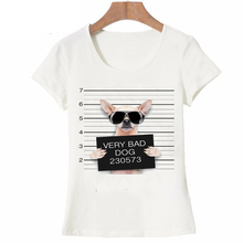195789c6 Summer Unique Police Chihuahua Design T Shirt Women's short sleeve very bad  dog print Tops cool