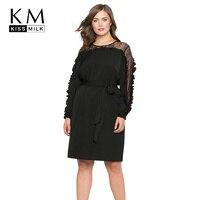 Kissmilk Plus Size Floral Lace Women Dress Patchwork Lace Up Ruffle Long Sleeve Female Clothing Big