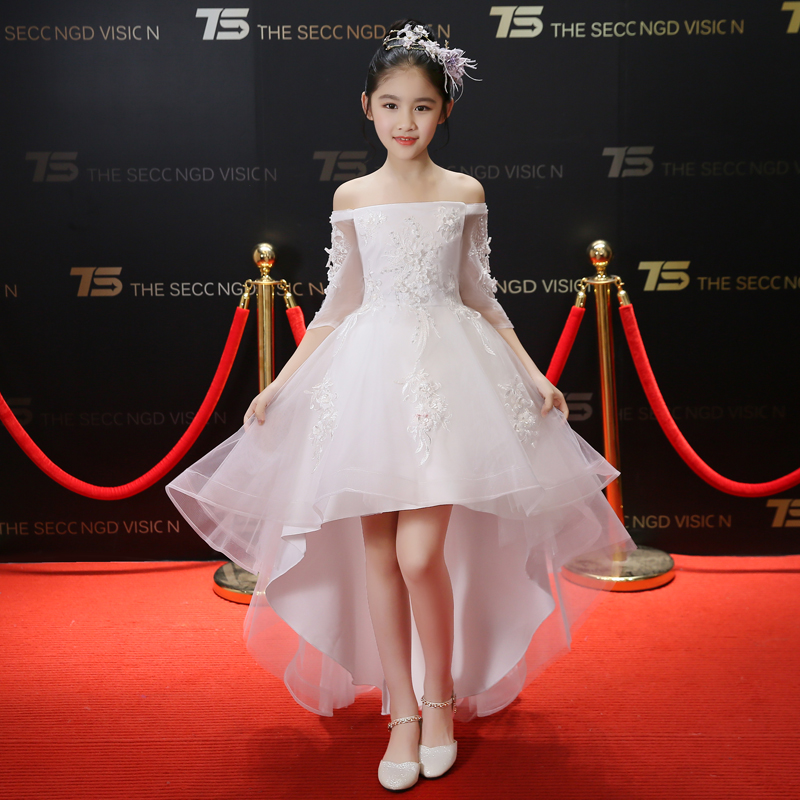 2018 Children Kids Fashion Shoulderless White/Red/Black Birthday Wedding Ball Gown Trailing Dress Girls Baby Piano Dance Dress