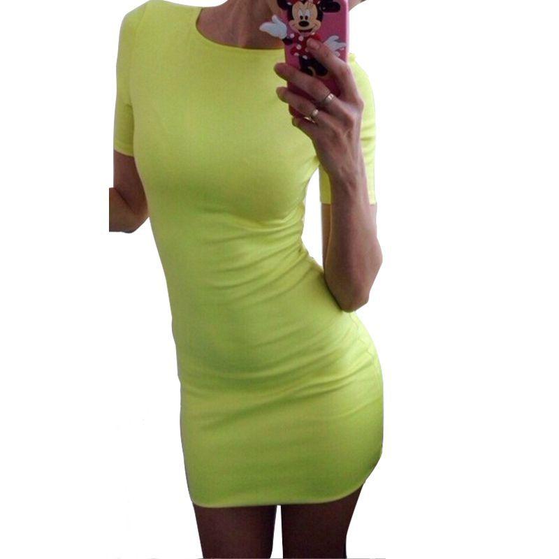 Verano de las mujeres atractivas de manga corta mini dress casual dress del part