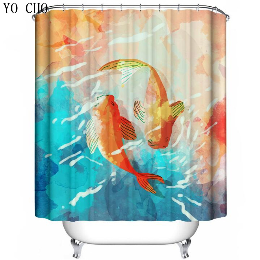 Fish shower curtains for kids - Yo Cho Sea Shower Curtains Fish Bathroom Curtain 3d Shower Curtains Kids Shower Curtain China
