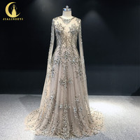 JIALINZEYI Real Sample Luxurious Beads Brown Long Sleeves A line Fromal Party Dresses Evening Dresses