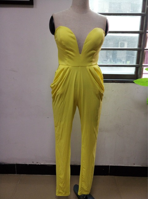 88e951ce7f3 evening yellow long skinny full length women jumpsuits party clothing sexy  women summer set strapless vestido