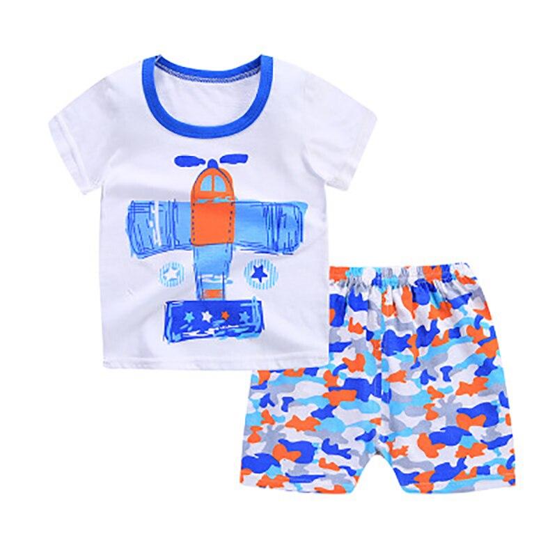 Летняя хлопковая одежда для мальчиков милый мультфильм печати Рубашка с короткими рукавами детская одежда футболка колена брюки комфорт д...