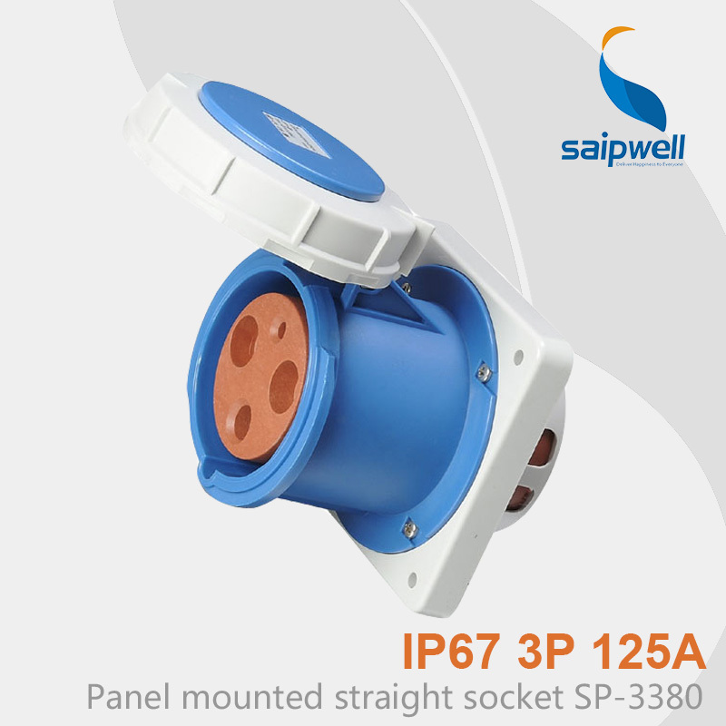 Saipwell Hot Sale IP67 Waterproof Industrial Plug Socket 3P 125A SP-3380 63a 3pin 220 240v industrial waterproof concealed appliance plug waterproof grade ip67 sf 633