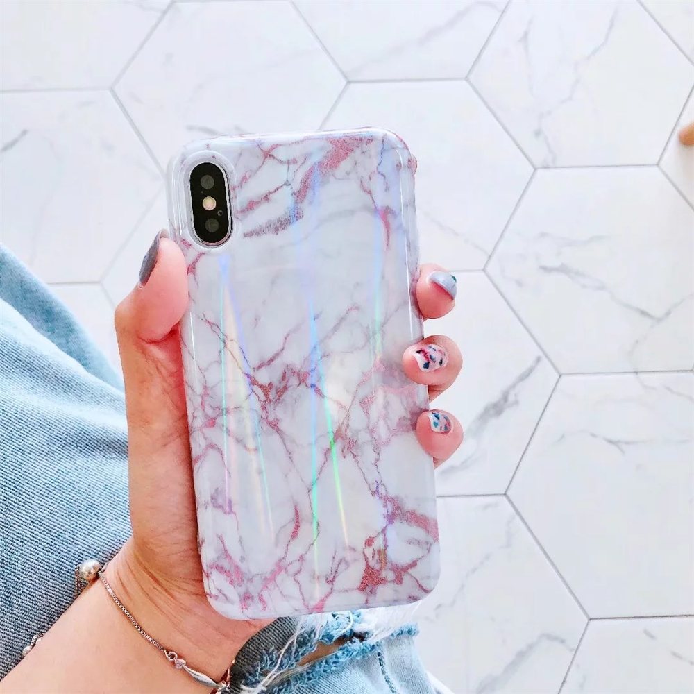 Retro Rainbow Glitter Candy Color Marble Phone Case For iphone 6 6S 7 8  Plus X Soft IMD Silicone Mobile Phone Back Cover Coque-in Fitted Cases from  ... 5da1c32270e8