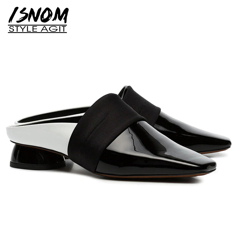 ISNOM Patent Leather Slippers Woman Square Toe Footwear Fashion Female Slides Shoes Mules Unusual Heels Shoes
