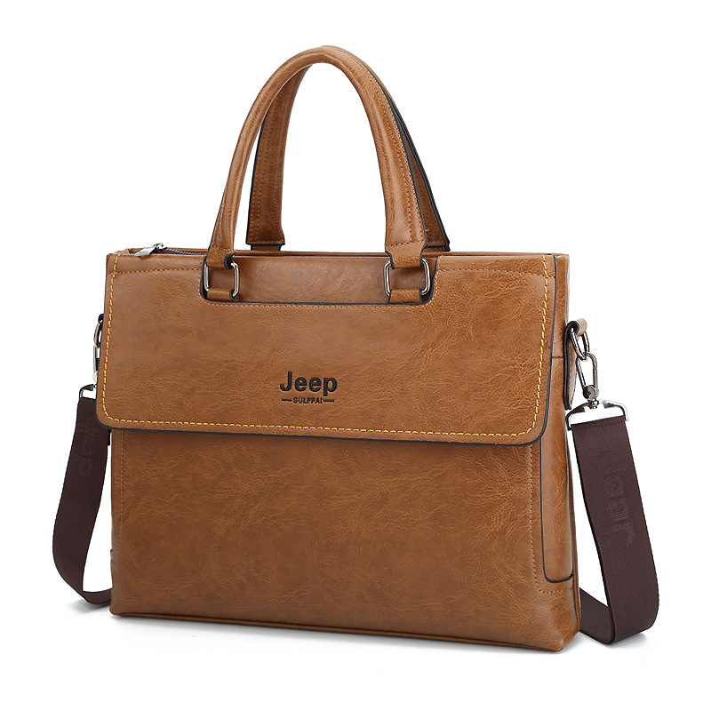 JEEP Sulppai Fashion PU Leather Briefcase Bags Business Laptop Tote Bag Crossbody Shoulder Bag Men's Travel Bags KSL621M