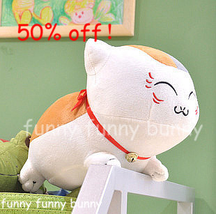 With Bell Kawaii Japanese Kitty White Plush Toy Lucky Cat Stuffed