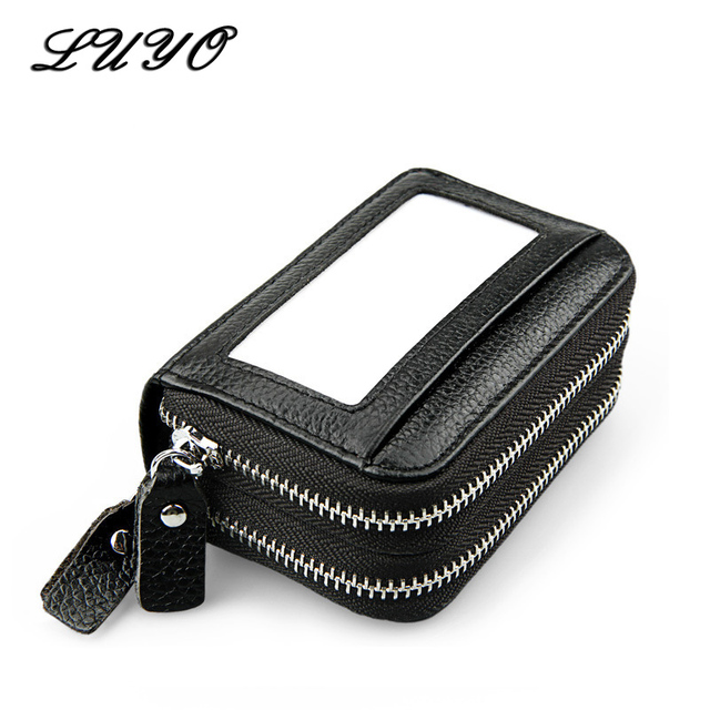 newest a9bff 5a5e3 Holdings Women ID Card Holder Genuine Leather Double Zipper Ladies Credit  Card Case Small Wallet Female Purse Cartera Pocket-in Wallets from Luggage  & ...