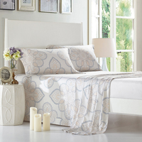 100 Bamboo Fiber Bed Sheet Set Queen Size King Size Flat Bedsheets With Pillowcase Floral Printed