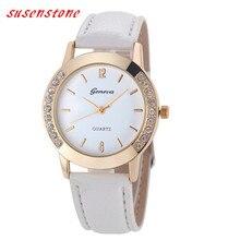 2016 Watch Women Geneva Leather Quartz-Watch Womens Crystal Diamond Rhinestone Watches Beauty Dress Wristwatch Hours Reloj Mujer