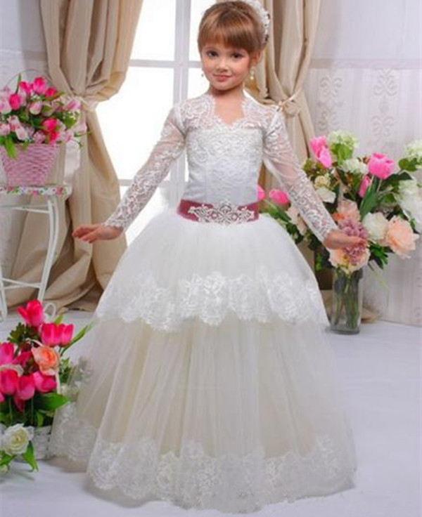Long Sleeves White Ball Gown Girls Birthday Party Dress Children Flower Girl Dresses for Wedding Custom Any Size white ivory girls first communion dresses ball gown lace with sash long junior flower girl dress for wedding custom any size