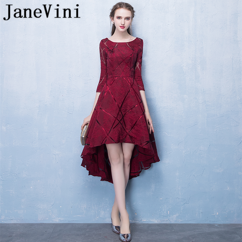 JaneVini 2018 Simple Burgundy High Low   Bridesmaid     Dresses   With Sleeves Scoop Neck Zipper Back Satin Tea-Length Women Prom Gowns