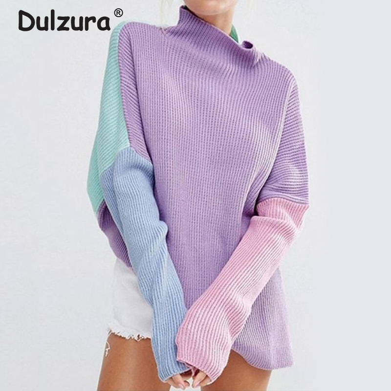 Chic Mock Turtleneck Sweaters Women Color Blocks Patchwork Pullovers Oversized Batwing Sleeve Knitted Long Sweater Jumpers Femme