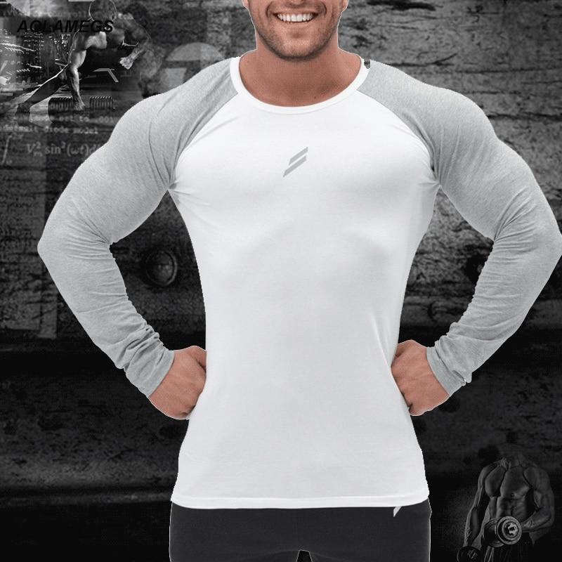 Aolamegs تي شيرت الرجال ضغط قميص الرياضية طويلة الأكمام تي السامي مطاطا التجفيف السريع كمال الاجسام لياقة الجمنازيوم الملابس