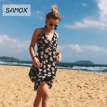JSMY 2019 New Beach Dress Summer Fashion Women Sling V-neck Printing Chiffon Backless Irregular Ruffles